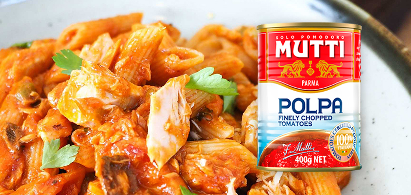 One Pot Penne with Tuna Olives and Capers MUTTI Polpa Chopped Tomatoes